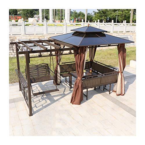 HLZY Garden Furniture Gazebo Gazebos for Patios, Patio Gazebo Villa Outdoor Canopy Gazebo with Swing Chair Netting and Curtains, for Lawn, Garden, Backyard and Deck Outdoor Canopy