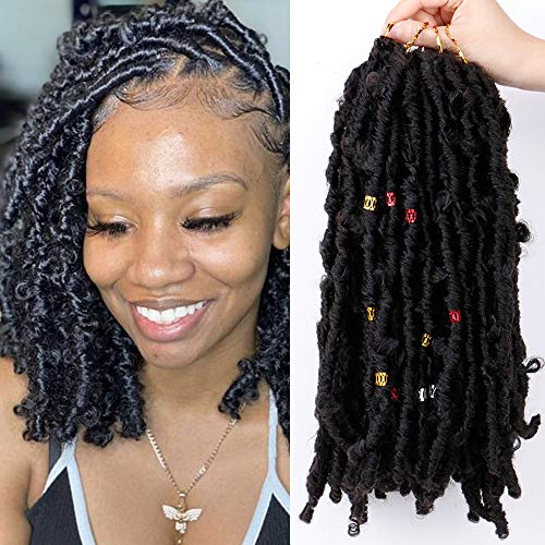 Queentas Butterfly Locs Crochet Hair Pre Looped Distressed Locs Crochet Braids for Full Head Black Women with 100PCS Color Ring(4 Packs 80PCS 12 Inch,1B Natural Black)