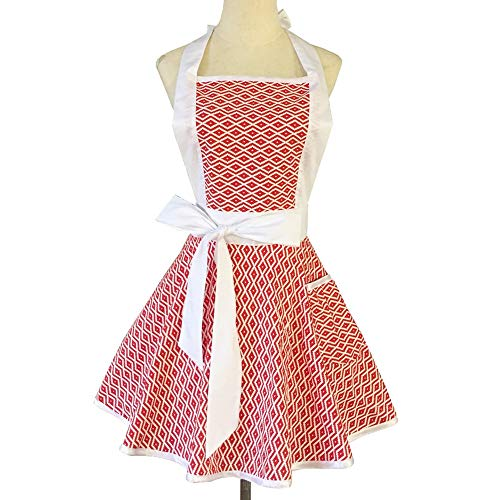 Aprons for Women Retro Vintage, Cooking Kitchen Apron Plus Size with Ties Red
