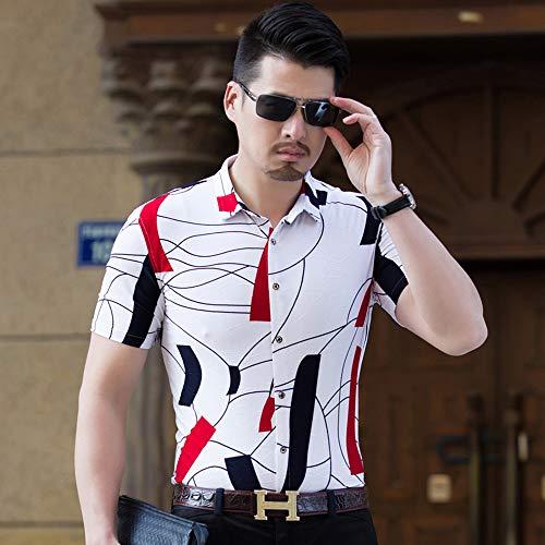 CLZC Mannen overhemden hoogwaardig zomerhemd heren Plus size heren bloemenhemd korte mouwen herenoverhemden nonchalant slim fit