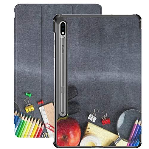 Funda para Galaxy Tab S7 Funda Delgada y Ligera con Soporte para Tableta Samsung Galaxy Tab S7 de 11 Pulgadas Sm-t870 Sm-t875 Sm-t878 2020 Lanzamiento, Material Escolar sobre Fondo de Pizarra Negra