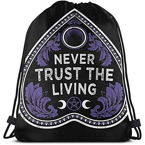 Niet toepasbare drawstring backpack vertrouwd nooit de living-goth planchette-occult universele trekkoord-rugzak sportreis-heuptas fitnesstas laptopgeschenk casual print school