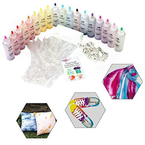 Kits Tie Dye, Kit de tinte de tela de 18 colores para adultos, niños y grupos de fiesta, Kit de tinte de graffiti textil de tela DIY para ropa/pañuelo/camisas/zapatos