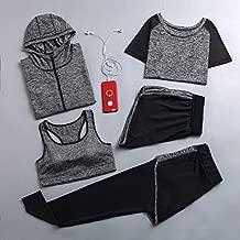 YJTZGG-H Yoga Kleidung Yoga Set Sport Jacke + Strumpfhose Hose + Short + Yoga Shirt + Sport BH 5 Stück Running Sportswear Trainingsanzug Fitness Gym Bekleidung