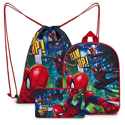 Marvel Zaino Scuola, Zainetto Asilo Bambino di Spiderman con Sacca Sportiva e Astuccio