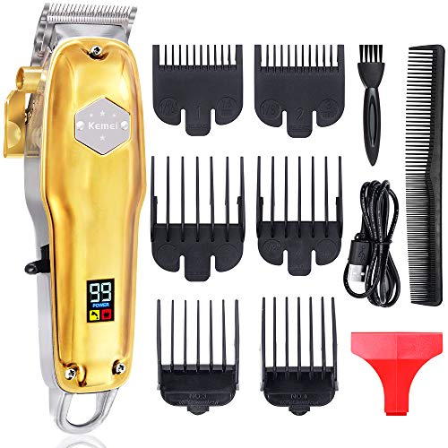 Powerful Hair Clippers for Men Hair Cutting Kit Professional Cordless Rechargeable Hair Beard Trimmers Mens Grooming Set LED Display Gold