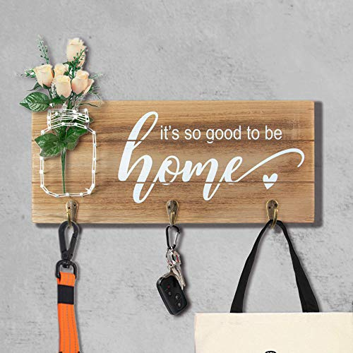 VILIGHT So Good to Be Home Farmhouse Wall Decor Key Holder - Housewarming Gifts Sign with String Art Mason Jar - 12.6x5.5 Inches