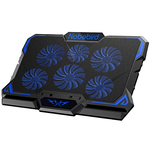 Laptop Cooling Pad, Gaming Laptop Cooler Pad with 6 Ultra Quiet Powerful Fans, Adjustable height and Speed With Cool Blue LED Lights, Perfect for 12'-17' laptop, Portable Cooler Pad