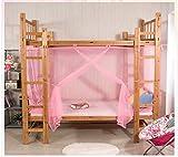 LINSUNG cortina de malla cuadrada para literas Mosquitera para cubrecama sin productos químicos agregados bolsa de almacenamiento fácil de instalar carpa individual o doble 1 entrada Pink