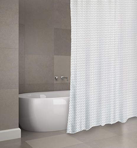 "Cotexsa by MSV Premium Anti-Schimmel Textil Duschvorhang B0751P4G42 - Anti-Bakteriell, waschbar, 100prozent wasserdicht, mit 12 Duschvorhangringen - Polyester, ""Mozaik"" Weiß 180x200cm – Made in Spain"