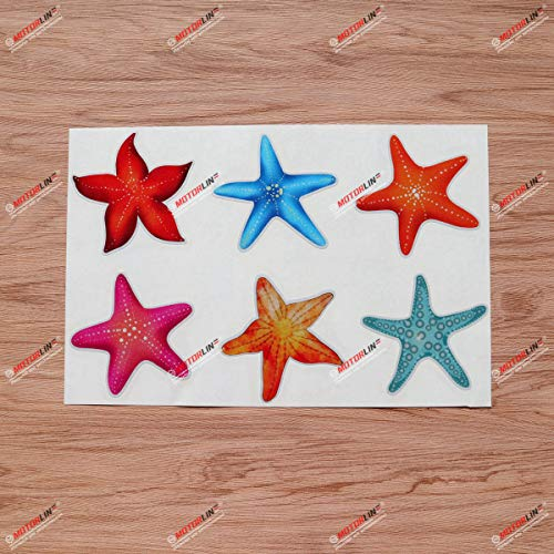 Ocean Starfish Vinyl Decal Sticker Collection Blue Hot Pink Orange Red - 6 Types Reflective, 4 Inches - for Car Boat Laptop Cup Phone 08270