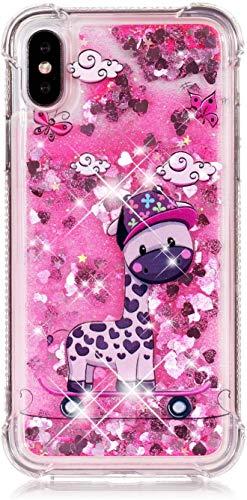 Felfy Kompatibel mit iPhone X/XS Hülle Flüssig Treibsand Glitzer Schutzhülle,Kompatibel mit iPhone X Handyhülle Transparent mit Muster Quicksand Weich TPU Silikon Stoßfest Cover Case,Giraffe