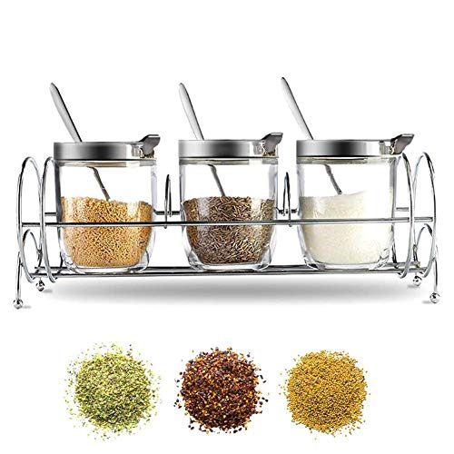 DAETNG Mini Glass Jar Set Spice Rack Salt and Pepper Holder Organizer with Airtight Lids, Home Kitchen Preserving Cabinet Glassware Clear Containers, Best Gifts