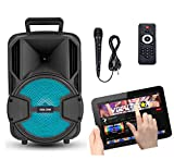 Vocal-Star Portable PA speaker with Bluetooth, wired microphone and LED Light Effects 100w