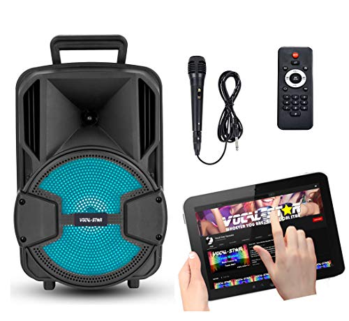 Vocal-Star Portable PA speaker with Bluetooth, wired microphone and LED Light Effects 100w VS-T100
