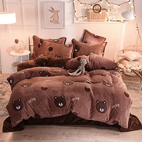 Duvet Cover Set-Winter Plüsch vierteilige Korallen Fleece Bettwäsche Neue kleine frische Bettwäsche Bettbezug Kissenbezug B_1,5 m Tagesdecke (4 Stück)