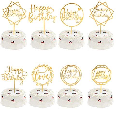 Meowoo Cake Topper Happy Birthday, 8PCS Cupcake Toppers Tarta Topper de Pastel de Cumpleaños Decoración Adecuado para Niños Hombres Mujeres Fiestas familiares de Cumpleaños (Dorado 8pcs)
