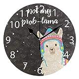 Kncsru Bonito Reloj de Pared Redondo de Llama de Invierno, silencioso, sin tictac, Funciona con Pilas para decoración del hogar, 9,88 Pulgadas