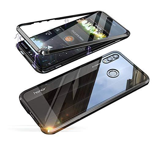Oihxse - Funda de adsorción magnética para Huawei Y5 2019/Honor 8S, marco de metal magnético ultrafino, cristal templado transparente, tapa protectora de cuerpo completo, soporte de carga inalámbrica