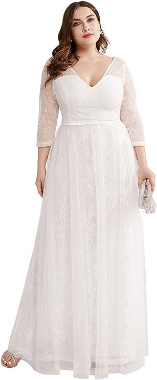 1940s Style Wedding Dresses | Classic Wedding Dresses Ever-Pretty Womens Fashion V-Neck Floral Lace Bridal Gowns Plus Size Prom Dresses 0806-PZ  AT vintagedancer.com