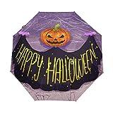 Happy Halloween - Paraguas de calabaza para mujer y hombre, cierre automático, tamaño pequeño, 3 plegables, para lluvia y domingo