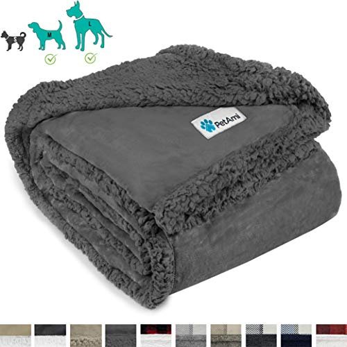 PetAmi Dog Blanket, Sherpa Dog Blanket | Plush, Reversible, Warm Pet Blanket for Dog Bed, Couch, Sofa, Car (Grey/Grey Sherpa, 60x80 Inches)