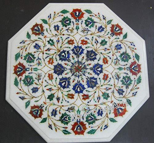 Gifts And Artefacts Table Basse en marbre Blanc avec Incrustation de Pierres Semi-précieuses Art Floral pour Ajouter Un Look Royal à Votre Salon
