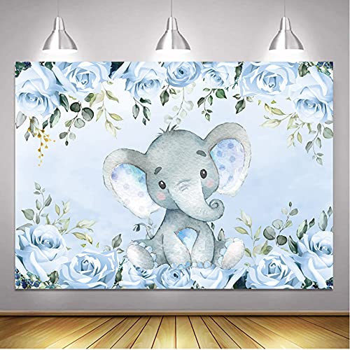 BINQOO Fondo de elefante para baby shower, color azul, floral es un niño recién nacido, para fiesta de niños, cumpleaños, de 7 x 5 pies
