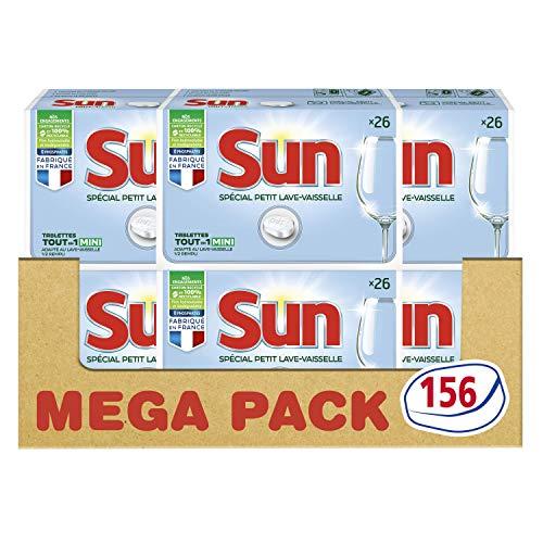 Sun Tout-En-1 pastiglie per lavastoviglie, formato speciale piccolo per lavastoviglie o lavaggio riduce 156 lavaggi (set da 6 x 26 pezzi)