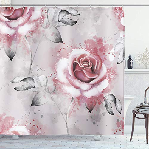 AMBZEK Rose Shower Curtain Gray Floral Light Pink Blush Pastel Blossom Leaves Graceful Plants Vintage Watercolor Artwork Cloth Fabric Bathroom Decor Set 12 Pack Plastic Hooks 60Wx71H, Pink Gray