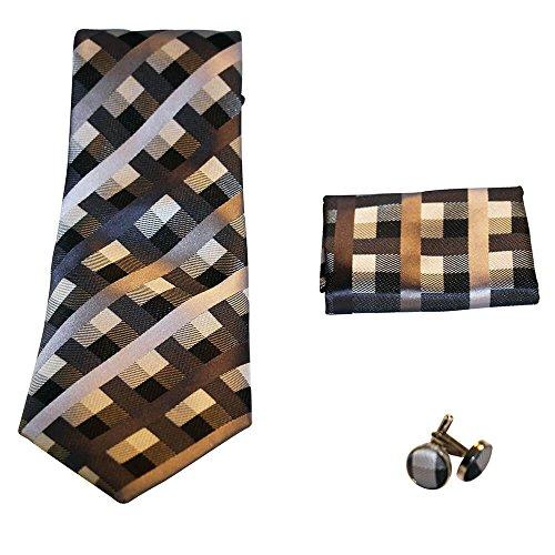 Shopping-et-Mode - Coffret cravate, pochette costume et boutons de manchette en soie, motif géométrique noir, marron, gris - Noir, Soie véritable
