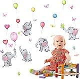 Pegatinas Pared para Niños, BKJJ Pegatinas Pared con Globos Elefante, Adhesivo Pared Animal, Vinilo Decorativo Elefante Mariposa, para Niños Dormitorio Habitación Decoración Pared