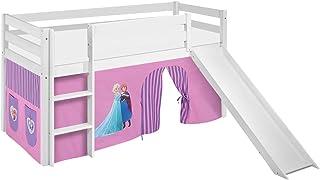 Lilokids Lit Mezzanine JELLE Frozen Lilas -lit d'enfant Blanc - avec Toboggan et Rideau - lit 90x190 cm