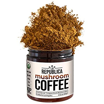 La Republica Organic Mushroom Coffee (30 Servings) with 7 Superfood Mushrooms, Great Tasting Instant Mushroom Powder Includes Lion's Mane, Reishi, Chaga, Cordyceps, Shiitake, Maitake, and Turkey Tail