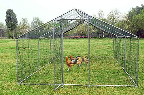 Walsport Large Walkin Chicken Coop, Metal Cage Hen House Rabbits Habitat with Waterproof and Anti-Ultraviolet Cover for Outdoor Backyard Farm(19.7 x 9.8 x 6.56 ft)