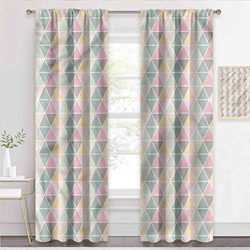 painting-home Blackout Curtains Geometric, Triangle Zig Zag Crackles Energy Efficient Window Curtain Keep The Cool and Cut The Glare W63 x L45 Inch