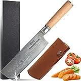 Nakiri - Cuchillo de cocina de damasco profesional con vaina, 17,8 cm, acero de Damasco japonés con 67 capas de dureza VG 10, 60 ± 2 HRC, hoja afilada con mango de madera cómodo