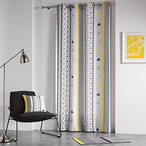 Douceur d'intérieur, Yellow Mix Tenda a Occhielli Poliestere Stampato 260x 140x 0,1cm