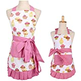 FirstKitchen Cupcake Apron,Cotton Kitchen Apron with Pocket for Cooking Baking (Mama-Child)