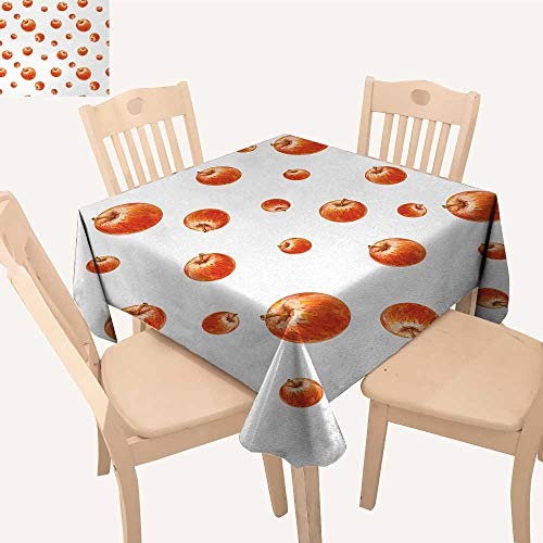 PriceTextile Apple Fabric Tablecloth Watercolor Style Cameo Apples Abstract Kitchen Elements Brush Stroke Effects BBQ Tablecloth Vermilion White W 54