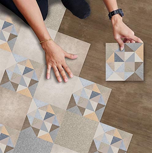 Pegatinas de azulejos geométricos de color vintage pelada y palo antideslizante a prueba de agua a prueba de agua Backsplash Tile Taquilladores extraíbles Pegatinas de piso para baño Dormitorio