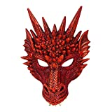 Coxeer Party Mask 3D Dragon Cosplay Mask Party Costume Mask for Mardi Gras (Red)