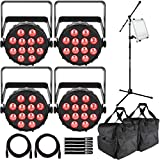 (4) Chauvet DJ SlimPAR T12 BT Bluetooth Wash Lights with Ultimate Support iPad Holder & Microphone Stand Package