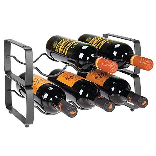 mDesign Juego de 2 botelleros apilables – Estante para vino de metal con capacidad para 3 botellas – Mueble vinoteca manejable para botellas de vino u otras bebidas – gris oscuro