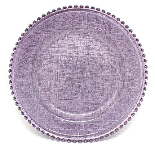 Cross-stitch Pattern Glass Charger 12.6 Inch Dinner Plate With Beaded Rim - Set of 4 - Lavender