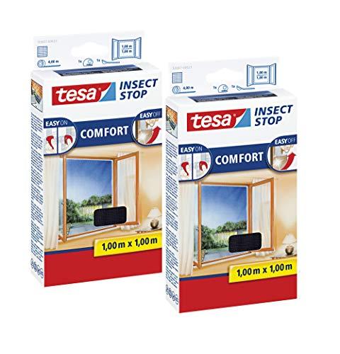tesa Insect Stop COMFORT Fliegengitter Fenster - Insektenschutz mit Klettband selbstklebend - Fliegen Netz ohne Bohren (100 cm x 100 cm, 2er Pack/Anthrazit (Durchsichtig))