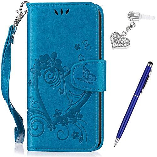 Kompatibel mit Huawei Y635 Hülle,Huawei Y635 Schutzhülle,Prägung Liebes Herz Schmetterlings Blumen PU Lederhülle Flip Hülle Handyhülle Ständer Tasche Wallet Hülle Schutzhülle für Huawei Y635,Blau