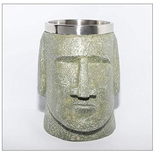 XMYNB Mug Moai Resurrection Island Stainless Steel Beer Cups Mugs Shaped Bottle Openers Coffee Easter Peopletea Coffee Travel Mug,Moai Light Color