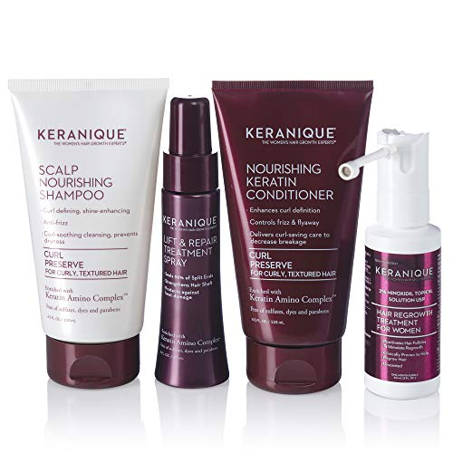 Keranique Hair Regrowth System 30 Days - Keratin Amino Complex - Free of Sulfates Dyes Parabens, Includes Shampoo and Conditioner, Regrowth Treatment and Lift & Repair Spray for Curly Thinning Hair
