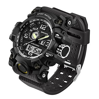 HWCOO Sanda Herrn Sportuhr Militäruhr Smart Uhr Modeuhr Armbanduhr Japanisch digital LED Duale Zeitzonen Fitness Tracker Nachts Leuchtend Sport Herrenuhr (Color : Black, Gender : for Men)